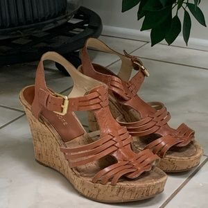 Audrey Brooke Leather Cork Wedges